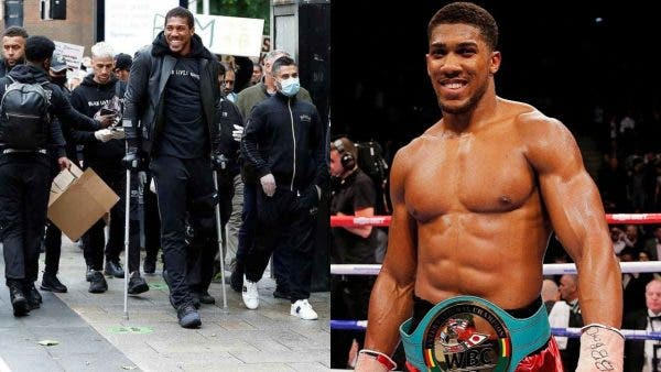 Anthony Joshua Spotted Walking With Crutches During Black Lives Matter Protest
